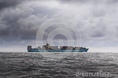 Cargo Ship In Grey Waters Free Public Domain Cc0 Image
