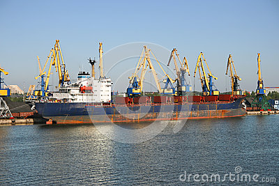 Cargo ship in harbour.