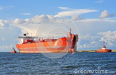 Cargo ship heading for port