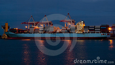 Cargo ship on loading in the port