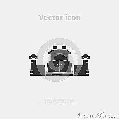 Cargo ship in the lock Vector Illustration