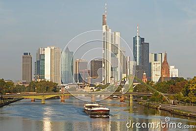 Cargo Ship on Main River and Frankfurt Skyline