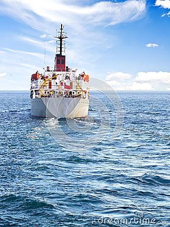 Cargo ship at open sea