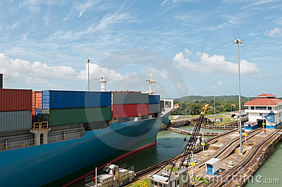 Cargo Ship in the Panama Canal