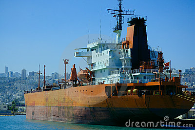 Cargo ship in a port