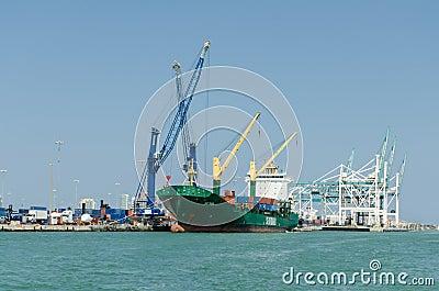 Cargo ship at port Editorial Photo