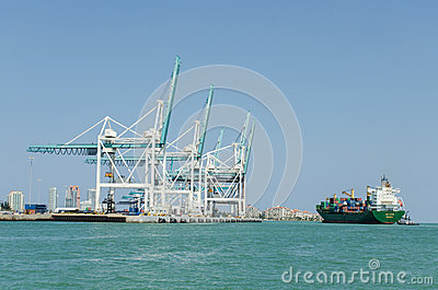 Cargo ship at port Editorial Stock Photo