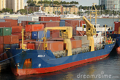 Cargo ship at the Port of Miami Editorial Photo