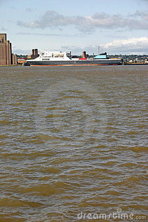 Cargo ship on the river