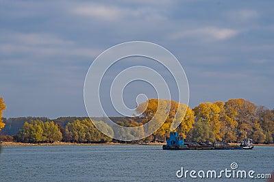 Cargo Ship on a river