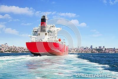 Cargo ship sailing out