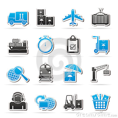 Cargo, shipping and logistic icons