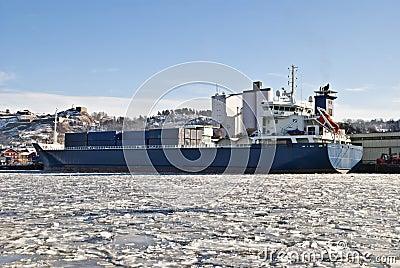 Cargo ships.