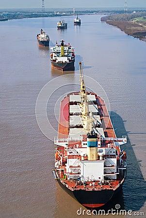 Cargo Ships at Anchor