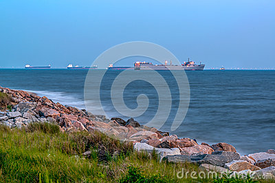 Cargo Ships at Anchor