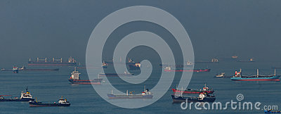 Cargo ships in Bosphorus Strait