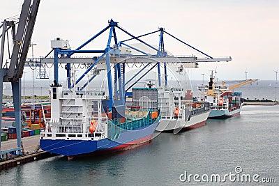 Cargo ships in Copenhagen seaport, Denmark