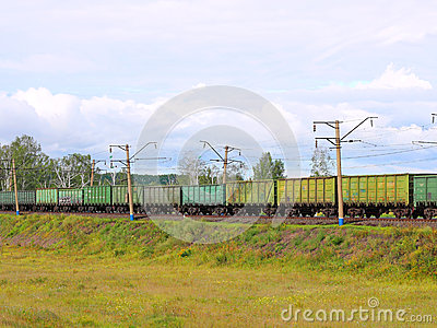 Cargo train from cars.