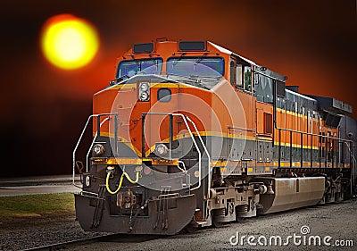 cargo train at sunset