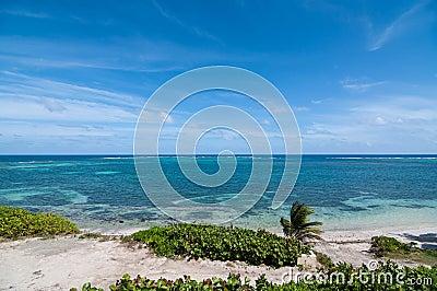 Caribbean Beach with Blue Sky