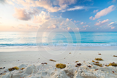 Caribbean beach at sunrise
