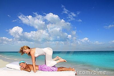 Caribbean beach therapy shiatsu massage on knees
