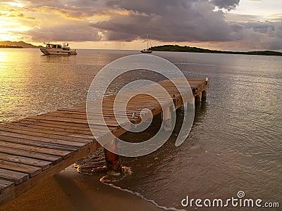 Caribbean dock at sunset
