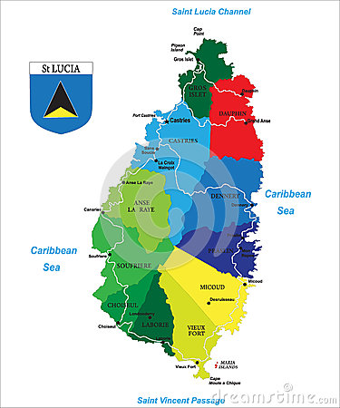 Caribbean island of Saint Lucia map