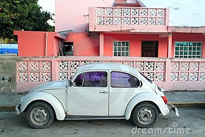 Caribbean pink house tropical retro car facade