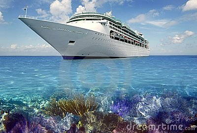 Caribbean reef view with cuise vacation boat