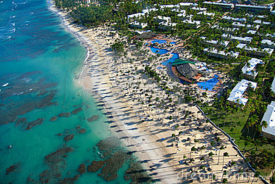Caribbean resort on beach from helicopter view