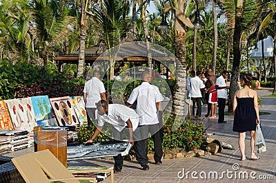 Caribbean resort paintings sale Editorial Photo