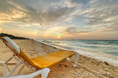 Caribbean Sea deckchair at sunrise
