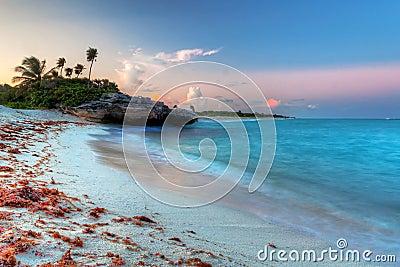 Caribbean Sea at magical sunset