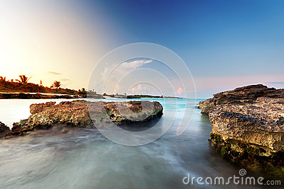 Caribbean Sea At Sunset Royalty Free Stock Photo - Image: 24686895