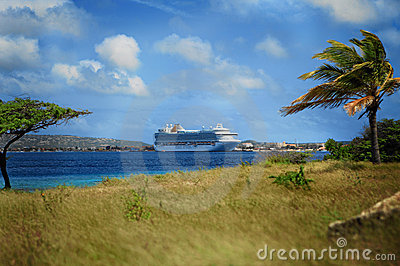 Caribbean ship in harbor