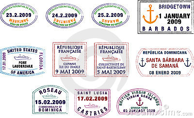 Caribbean and South American Passport Stamps