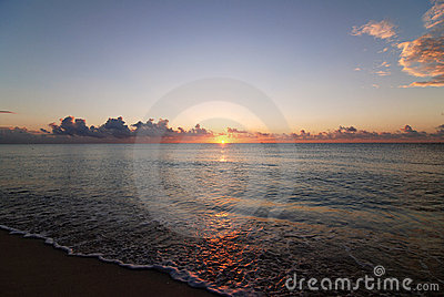 Caribbean sunrise on beach