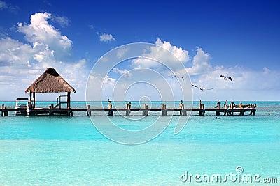 Caribbean tropical beach cabin pier Contoy island