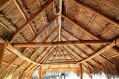 Caribbean wooden sun roof Palapa