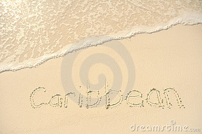 Caribbean Written in Sand on Beach