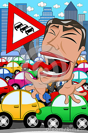 Free Caricature Businessman Screaming Traffic Jam Stock Image - 46445951
