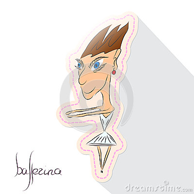 Caricature cartoon ballerina