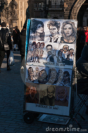 Caricature drawing on Charles Bridge, Prague. Editorial Stock Photo