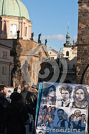 Caricature drawing on Charles Bridge, Prague. Editorial Stock Image
