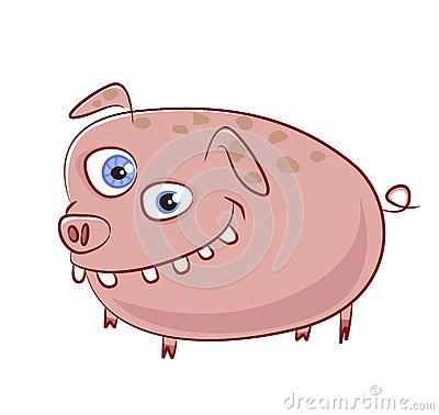 Caricature funny smiling pig character