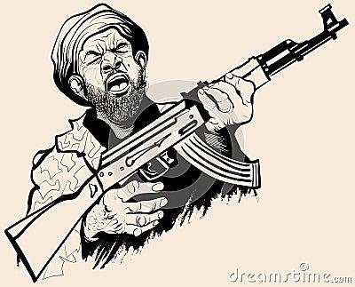 Caricature of a terrorist