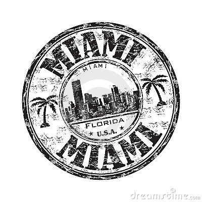 Carimbo De Borracha Preto Do Grunge O Nome Da Cidade De Miami De