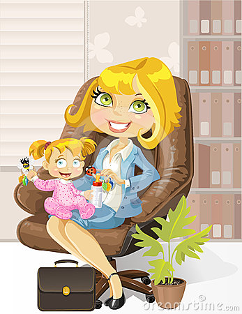 Caring business mother in the office with child