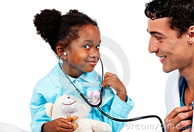 Caring doctor playing with his young patient